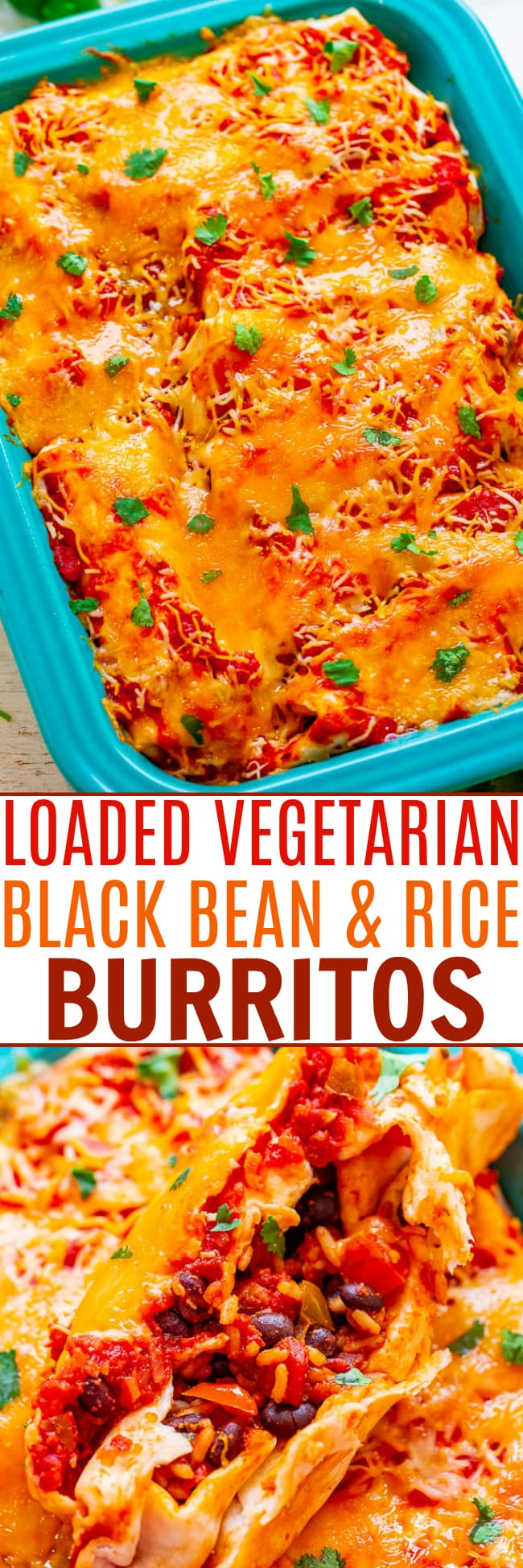 Loaded Vegetarian Burritos — HEALTHY Mexican comfort food that's loaded with black beans, rice, and more before being topped with salsa and CHEESE!! You'll never miss the meat in these EASY burritos that you can make-ahead and are freezer-friendly!!