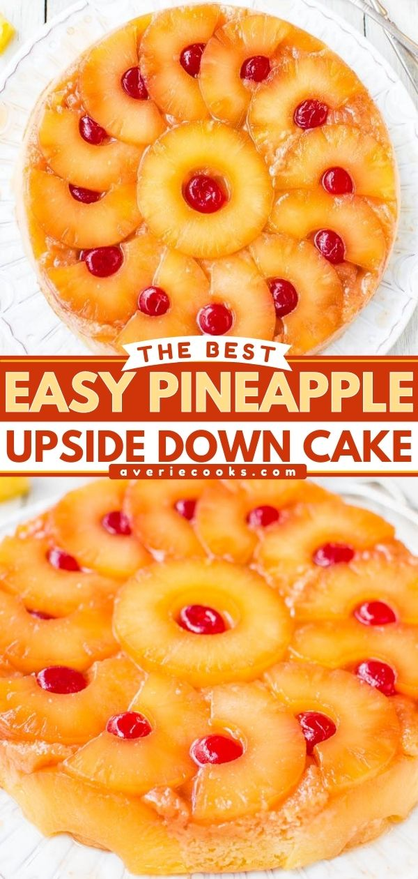 The Best Pineapple Upside-Down Cake — So soft, moist, and really is the best!! A cheery, happy cake that's sure to put a smile on anyone's face! This 100% from-scratch cake is an EASY reader favorite you're going to love!!