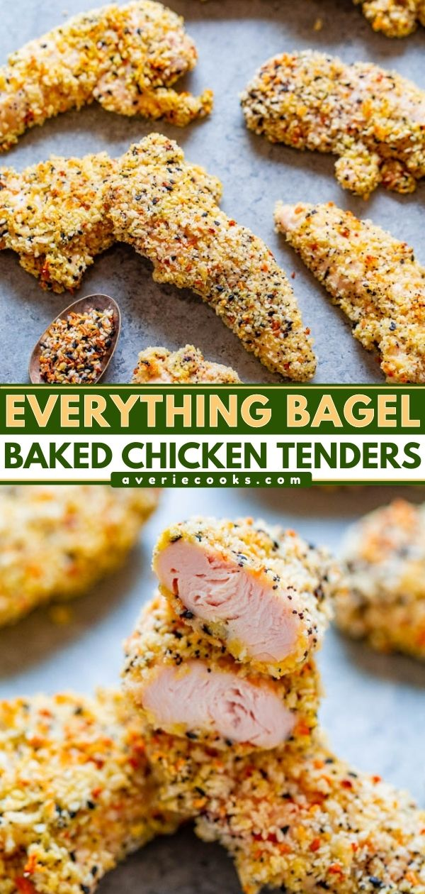 Everything Bagel Baked Chicken Tenders – EASY, ready in 15 minutes, and perfectly CRISPY on the outside!! Tastes like an everything bagel met chicken on the way to the oven and so GOOD! Don't bother frying chicken when you can bake it!!