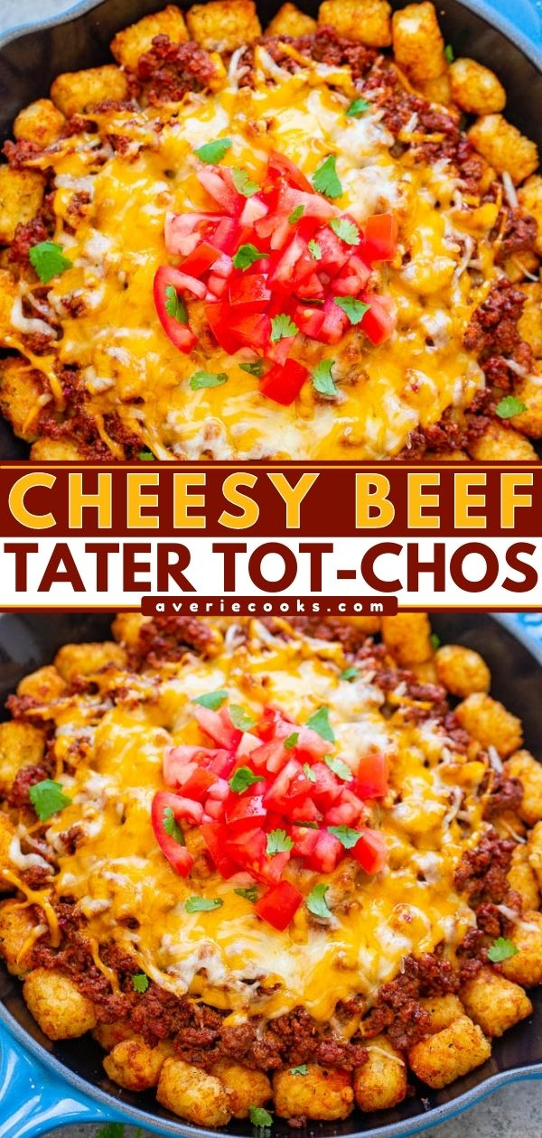 Beef Tater Tot-Chos - Crispy tater tots topped with taco-seasoned ground beef and melted cheese is a DELICIOUS and fun twist on nachos!! EASY, ready in no time, and perfect for PARTIES!!