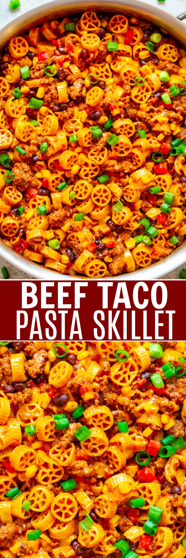 Beef Taco Pasta Skillet – An EASY recipe that's ready in 20 minutes, made in ONE skillet, and loaded with Mexican-inspired flavors!! A family favorite that's great for busy weeknights!!