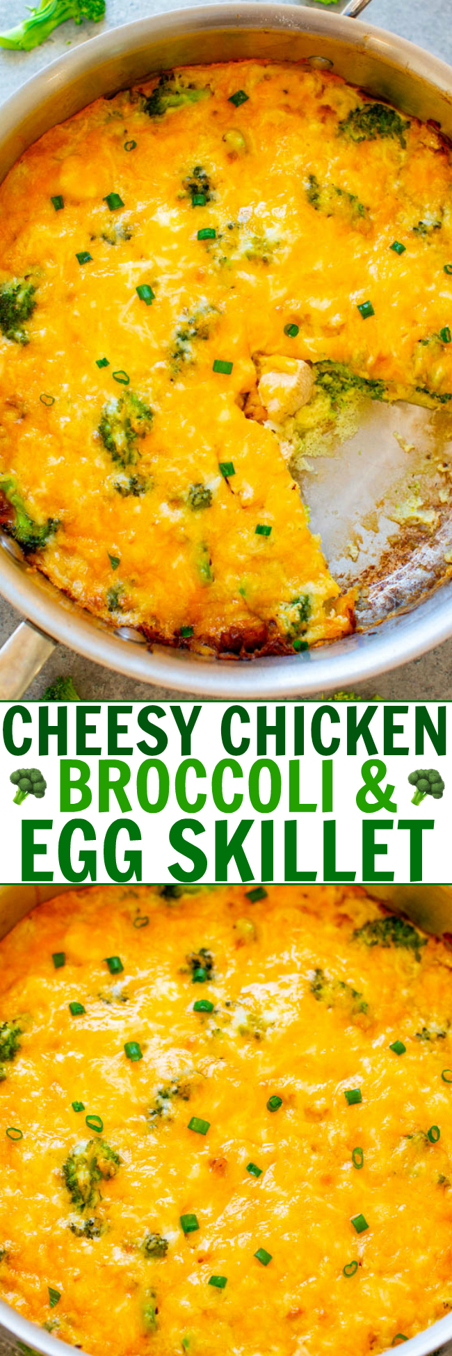 Cheesy Chicken, Broccoli, and Egg Skillet - A healthy-ish brunch, lunch, or breakfast-for-dinner recipe that combines juicy chicken, crisp-tender broccoli, eggs, and melted cheese!! EASY and ready in 30 minutes!!