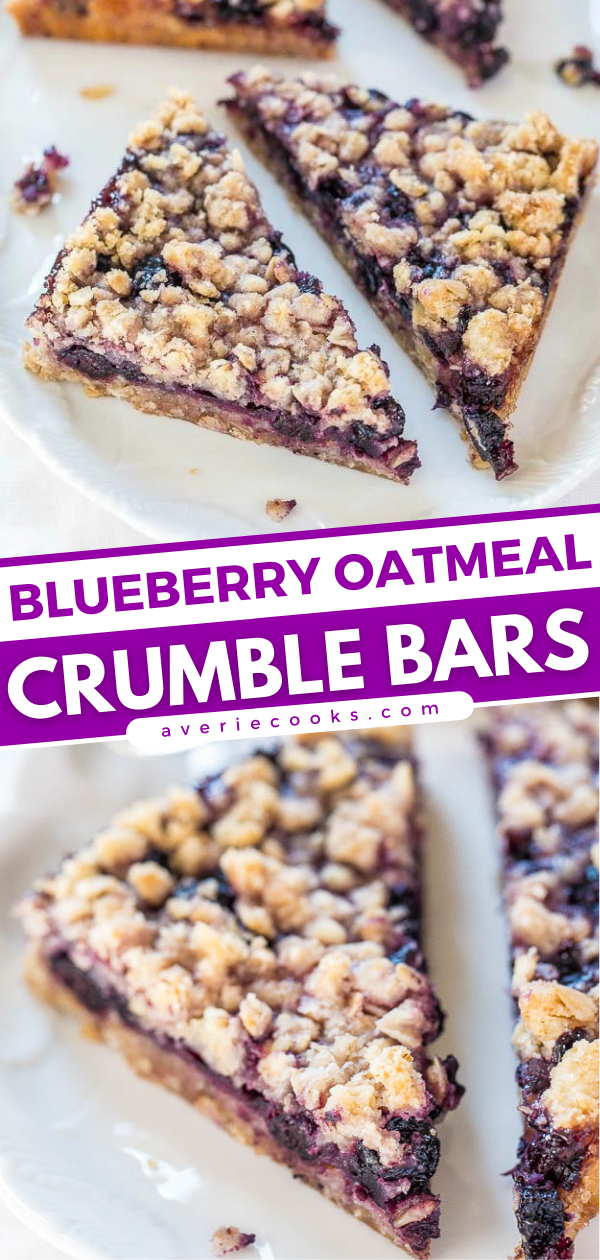 Blueberry Bars with Oatmeal Crumble Topping — These bars are buttery and packed with blueberry flavor! They take just 10 minutes of prep and then go straight into the oven. So easy to make, and a crowd pleaser every time!