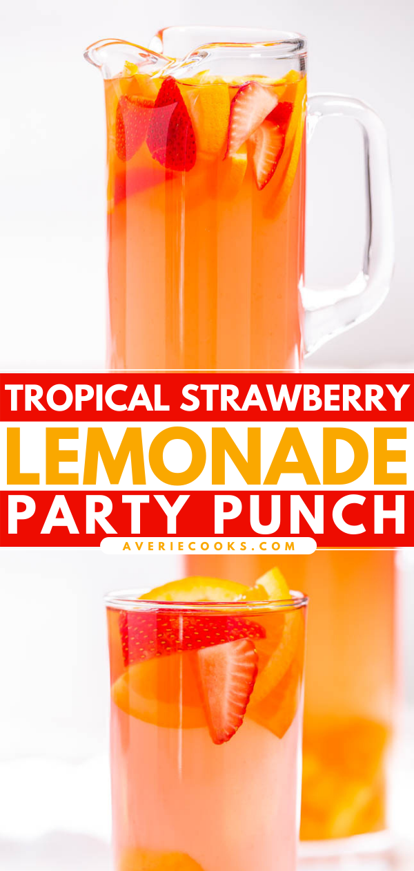 Tropical Alcoholic Punch— One of my all-time favorite party drinks! Feel free to leave the alcohol out if desired. This punch tastes delicious even without it!