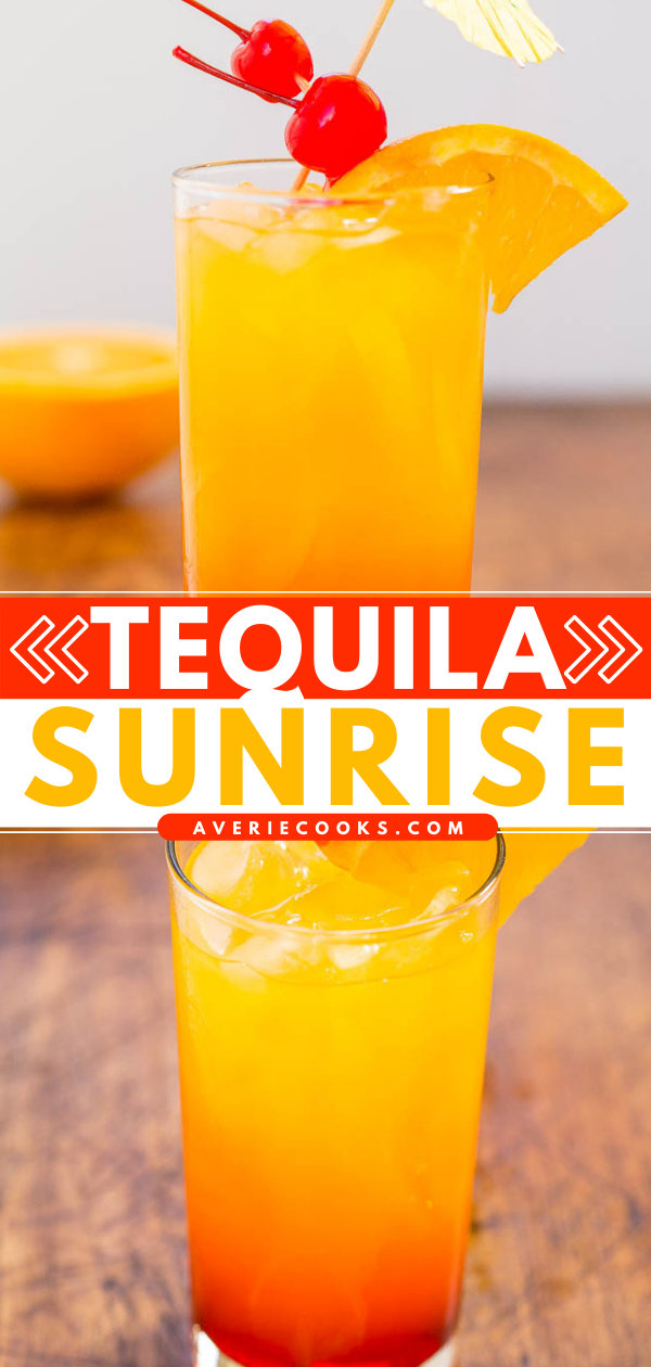 Tequila Sunrise — Not only is it pretty to look at, but a tequila sunrise is also refreshing, nostalgic, and the grenadine sweetens it up enough that you may not even notice it packs quite a punch!