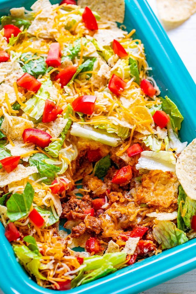 Overhead picture of Layered Beef Taco Salad in a blue dish