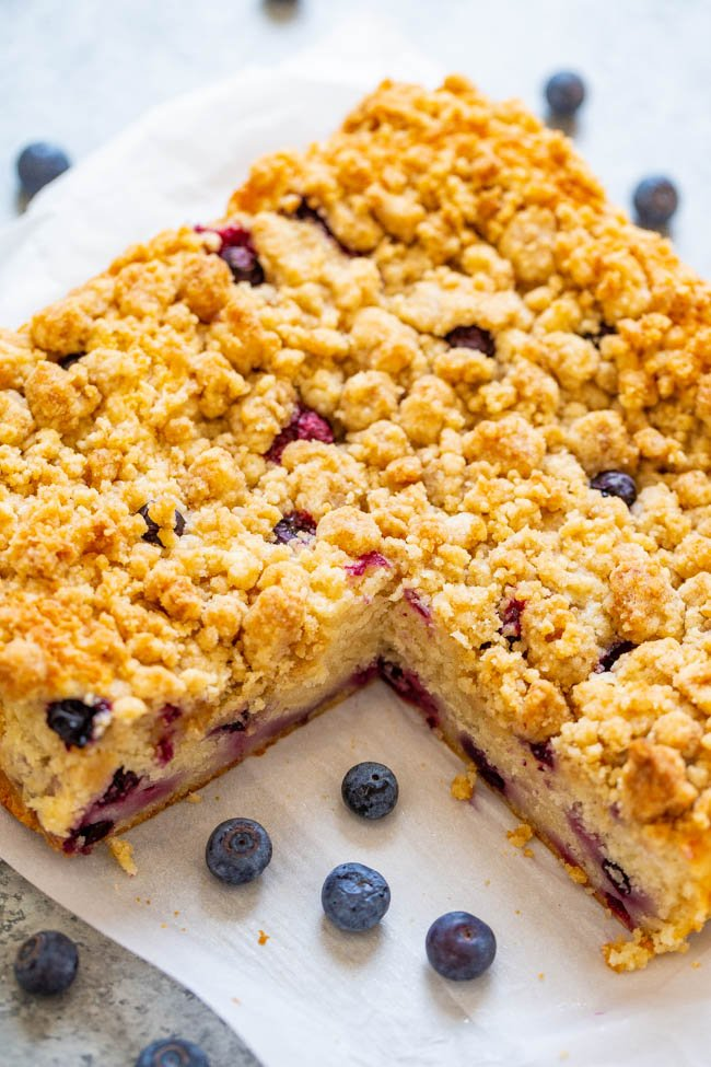 Blueberry Coffee Cake with Streusel Topping — An EASY, no-mixer cake studded with juicy blueberries and topped with big buttery streusel nuggets that are just SO GOOD!! Not overly sweet and PERFECT with a cup of coffee for breakfast, brunch, or a snack!!