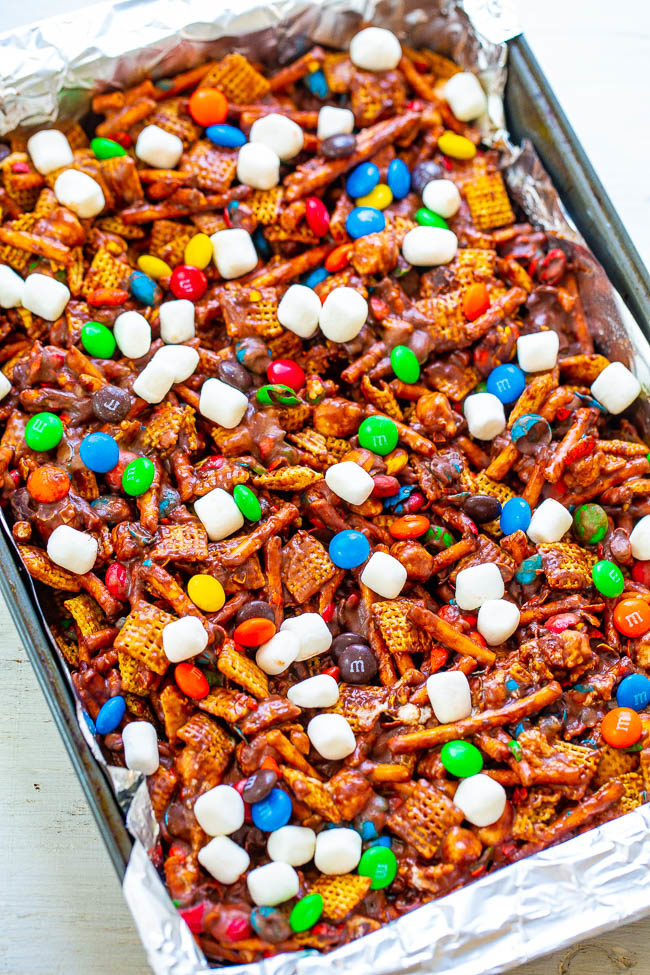 Overhead shot of chex mix bars in a pan