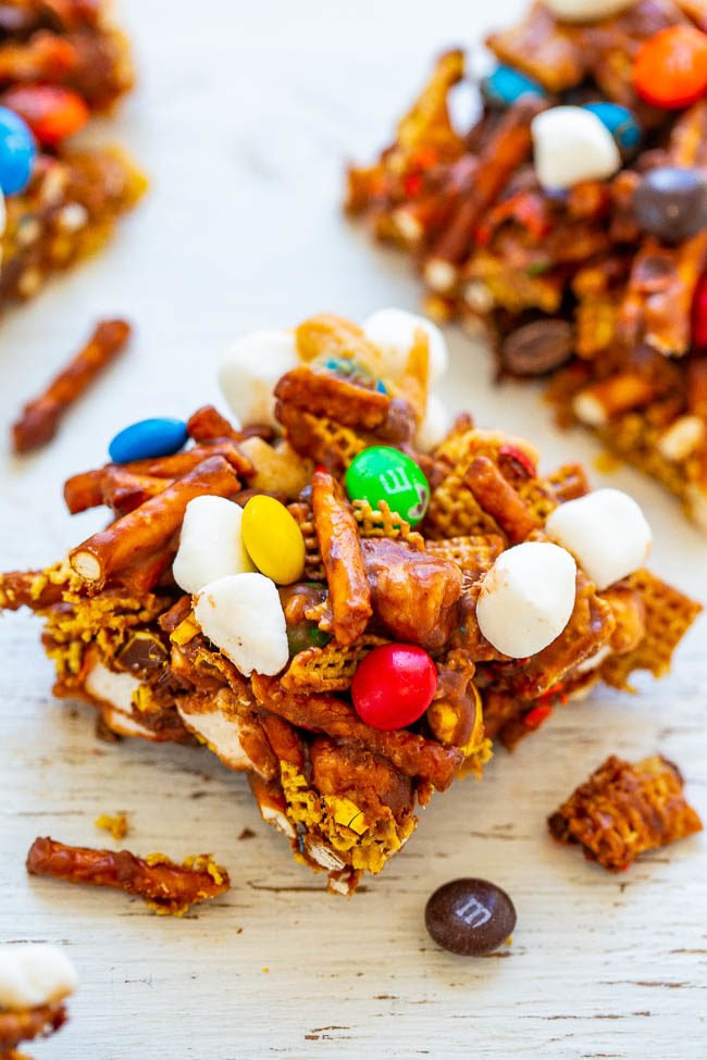Chocolate Peanut Butter Chex Mix Bars