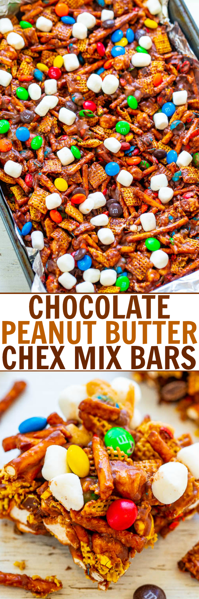 Chocolate Peanut Butter Chex Bars — SO EASY, NO-BAKE, and ready in FIVE minutes!! Chex cereal, pretzels, and M&Ms glued together with peanut butter and marshmallows!! An IRRESISTIBLE salty-sweet combination!!
