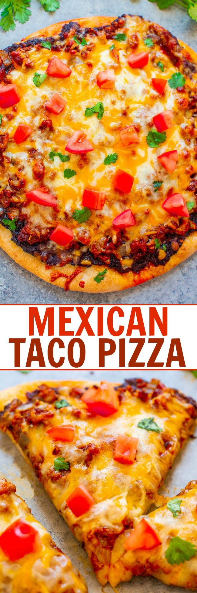 Mexican Taco Pizza - EASY, ready in 20 minutes, and like eating a taco in pizza form!! Taco-seasoned ground beef on top of refried beans with melted cheese and your favorite taco fixings!!