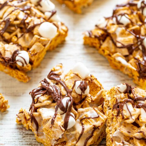 Smores Bars - SO EASY, NO-BAKE, just FOUR ingredients, and ready in FIVE minutes!! It doesn't get any better than that and no campfire required! A hit with kids and adults at parties, potlucks, and picnics!!