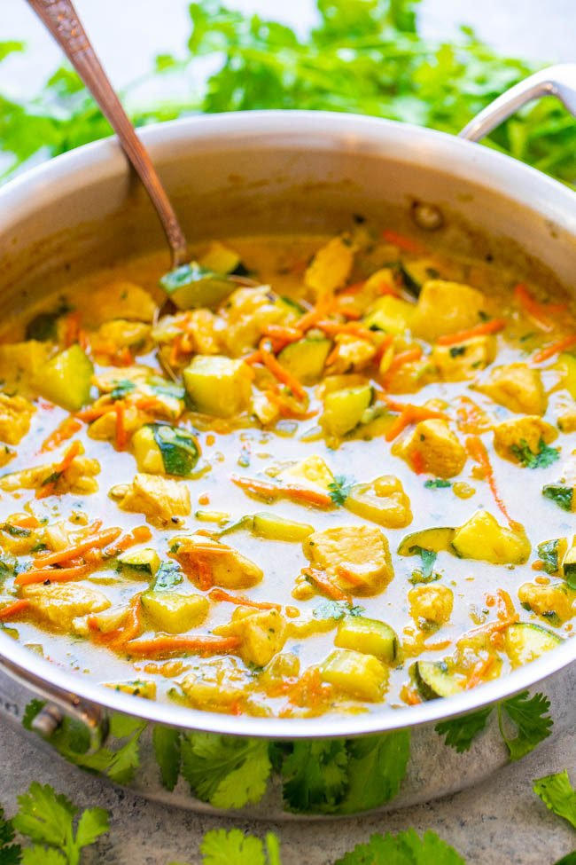 Green Thai Chicken Coconut Curry in a skillet