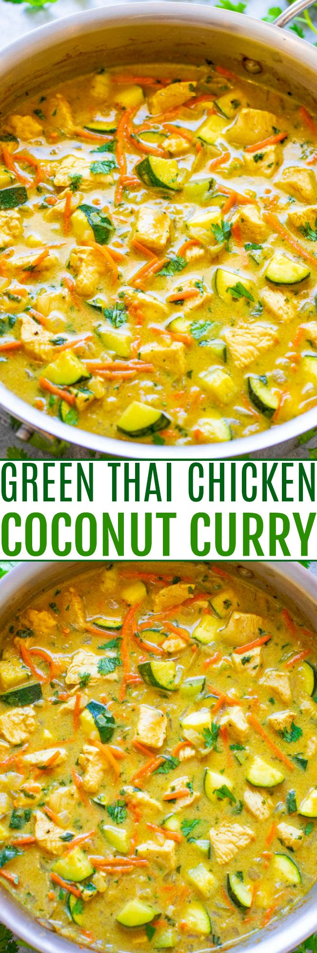 Green Thai Chicken Coconut Curry - An EASY, one-skillet curry that's ready in 20 minutes and tastes BETTER than from a Thai restaurant!! It's healthy comfort food that tastes AMAZING!!