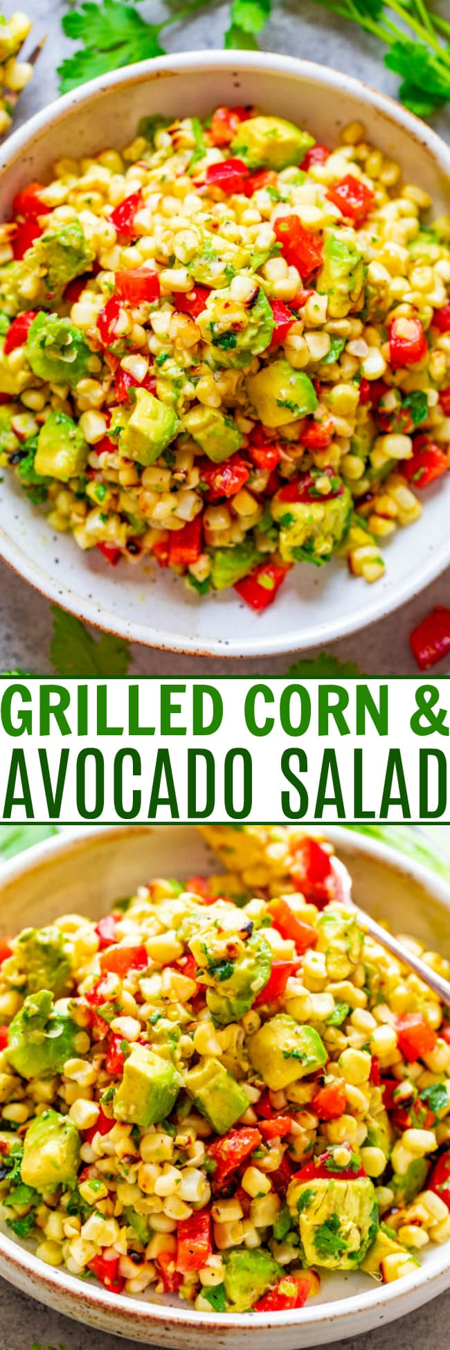 Grilled Avocado Corn Salad — An EASY and HEALTHY salad that's ready in 10 minutes and you won't be able to stop eating it!! Juicy corn, creamy avocado, cilantro, and fresh lime juice is a FIESTA in your mouth!!