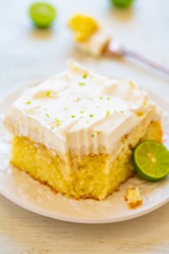 Key Lime Poke Cake - An EASY and refreshing cake with plenty of zippy lime flavor that's perfect for summer parties, picnics, and potlucks!! Everyone loves this tangy-and-sweet, light, and airy cake!!