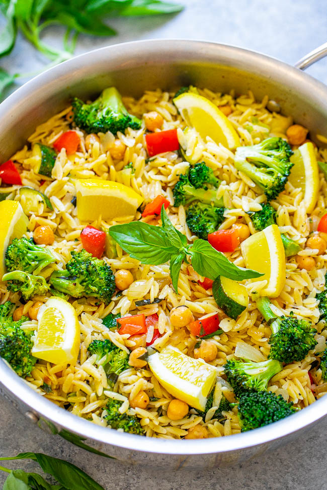 Lemon Basil Orzo and Vegetables - An EASY vegan recipe ready in 30 minutes that makes it easy to eat your veggies while enjoying the comforts of pasta, too!! The lemon and basil make the dish taste fresh and light!!