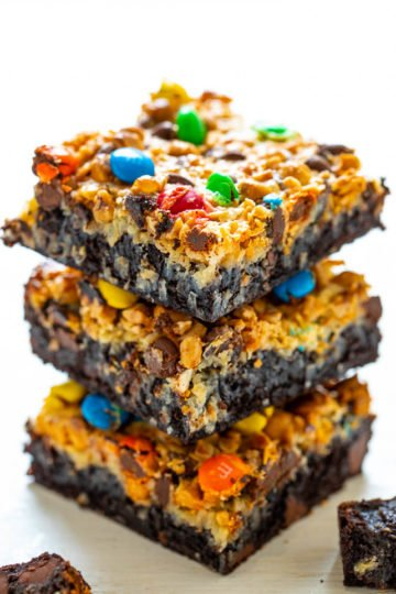 Loaded Seven Layer Brownies - The softest, fudgiest, and BEST brownies topped with coconut chocolate chips, butterscotch chips, toffee bits, M&Ms, and more!! You will never want to cheat on these INCREDIBLE brownies after trying them!!