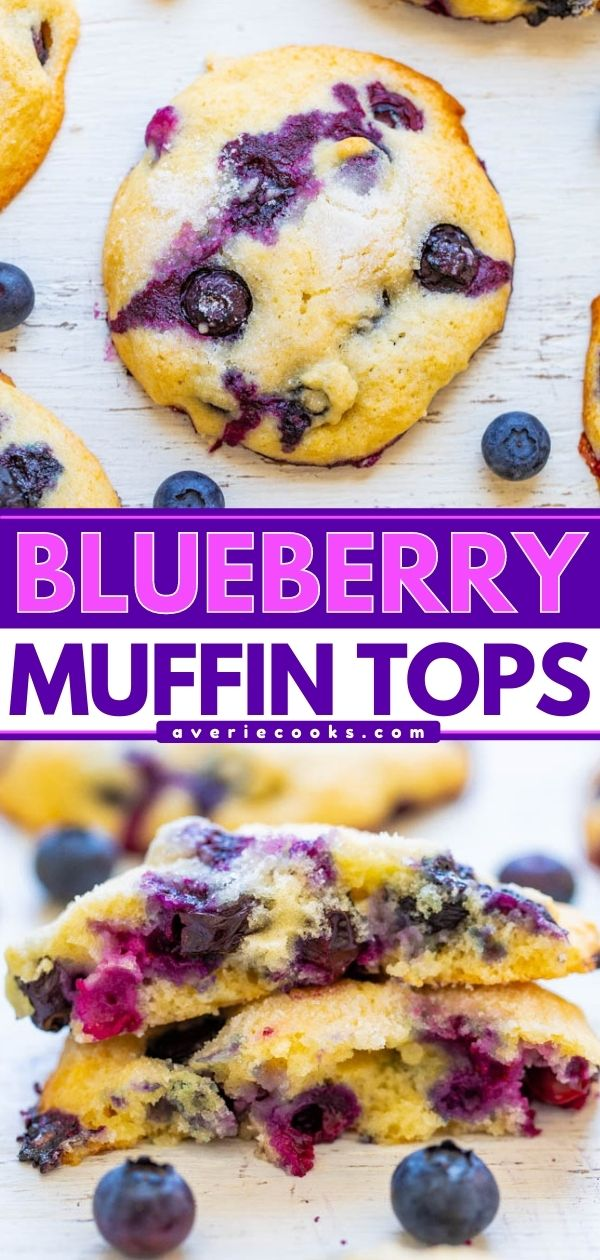 Blueberry Muffin Tops — If you like to eat just the tops of your muffins, you're going to LOVE this EASY recipe for soft and tender blueberry muffin tops bursting with juicy berries in every bite!! Only 1/2 cup sugar in the entire batch!!