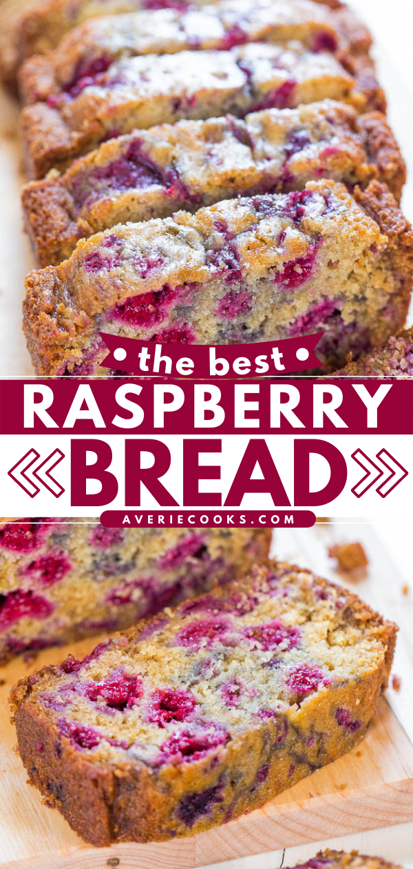 The Best Raspberry Bread - There are almost more raspberries than bread in my recipe for the BEST RASPBERRY BREAD!! You'll want to make it over and over because it's super soft and just bursting with juicy berries!!