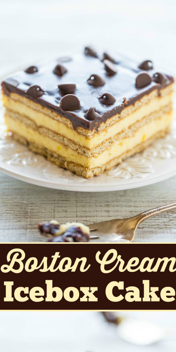 Boston Cream Icebox Cake — Boston cream pie meets an eclair in an easy no-mixer, no-bake dessert! Vanilla pudding, whipped topping, graham crackers, and lots of chocolate! Perfect for parties or anytime you don't want to turn on your oven!!