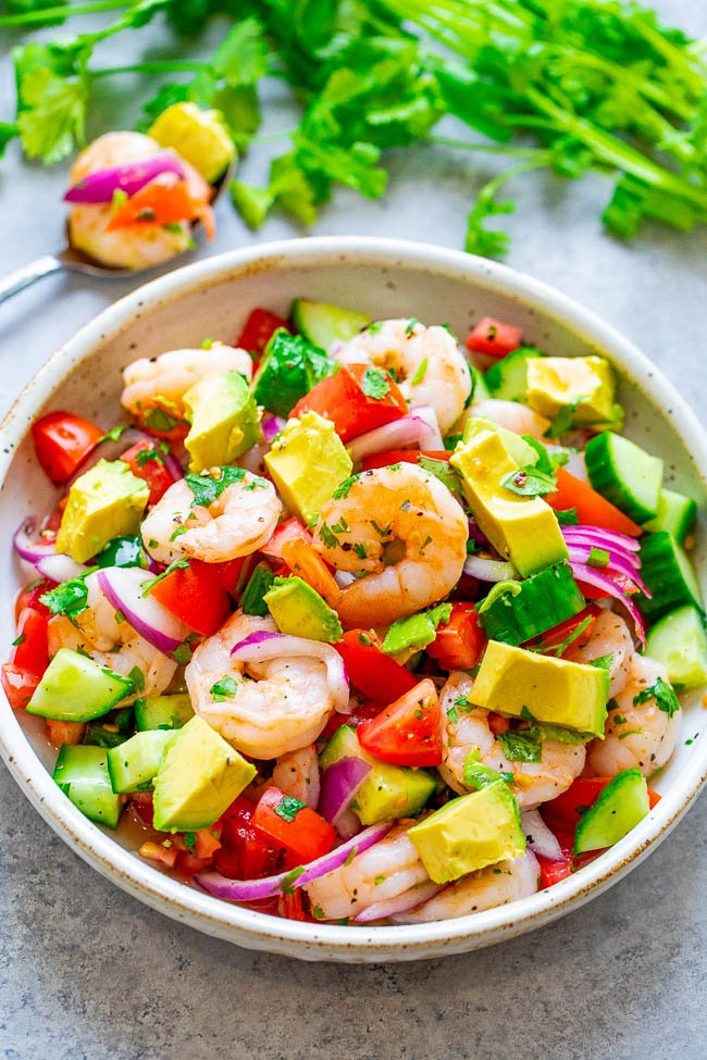 Shrimp Ceviche - The EASIEST way to make traditional shrimp ceviche and it tastes the BEST!! Ready in 30 minutes, great as an appetizer, side, or as a healthy main course that everyone LOVES!!