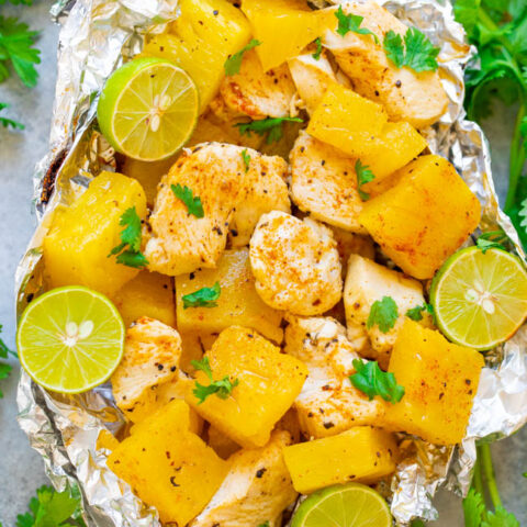 Grilled Cajun Chicken and Pineapple Foil Packets - EASY, tasty, ready in 15 minutes, HEALTHY, and since it's made in a foil pack on the grill, there's ZERO cleanup!! Perfect for easy-breezy summer meals!!