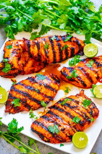 Grilled Sriracha Lime Chicken - EASY, ready in 10 minutes, and the chicken is SPICY, tender, and juicy!! Put this HEALTHY chicken recipe on your summer menu when you want to kick things up a notch!!