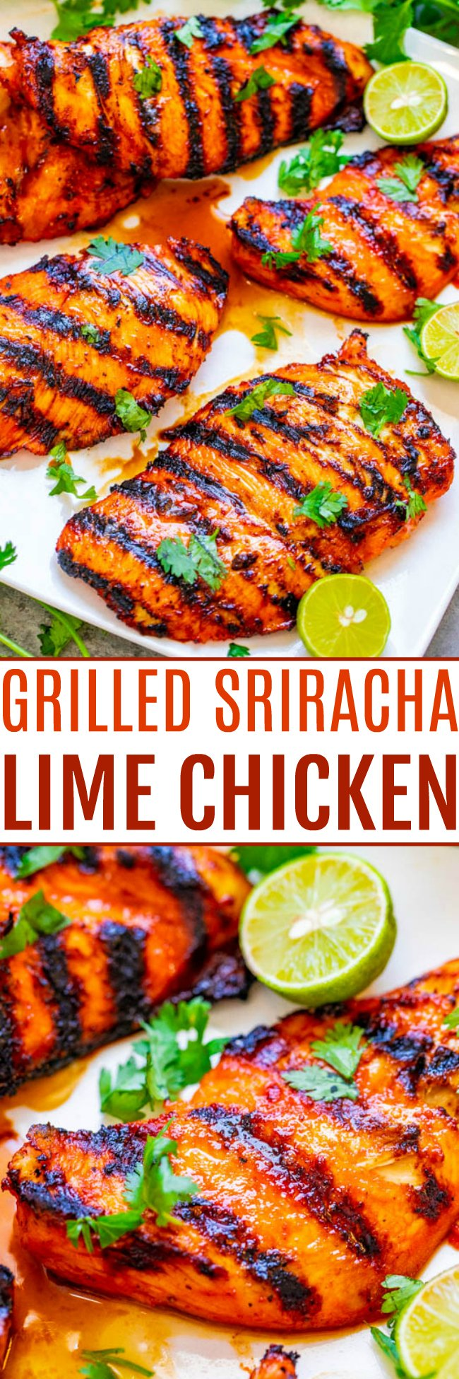 Grilled Lime Sriracha Chicken — EASY, ready in 10 minutes, and the chicken is SPICY, tender, and juicy!! Put this HEALTHY chicken recipe on your summer menu when you want to kick things up a notch!!