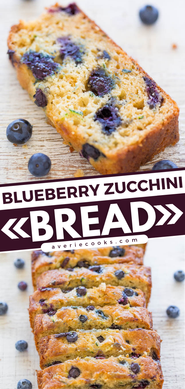 Blueberry Zucchini Bread—This blueberry zucchini bread is a quick, no-mixer recipe that's sweet, but not too sweet. Each bite is bursting with fresh blueberries!