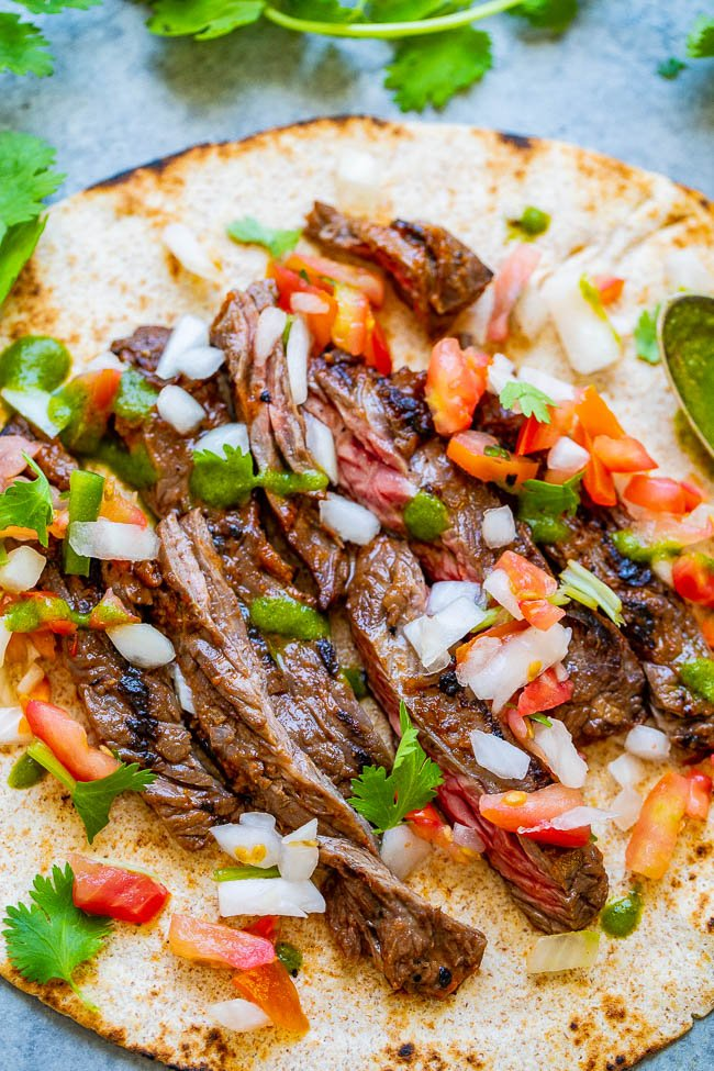 close up view of a grilled steak taco