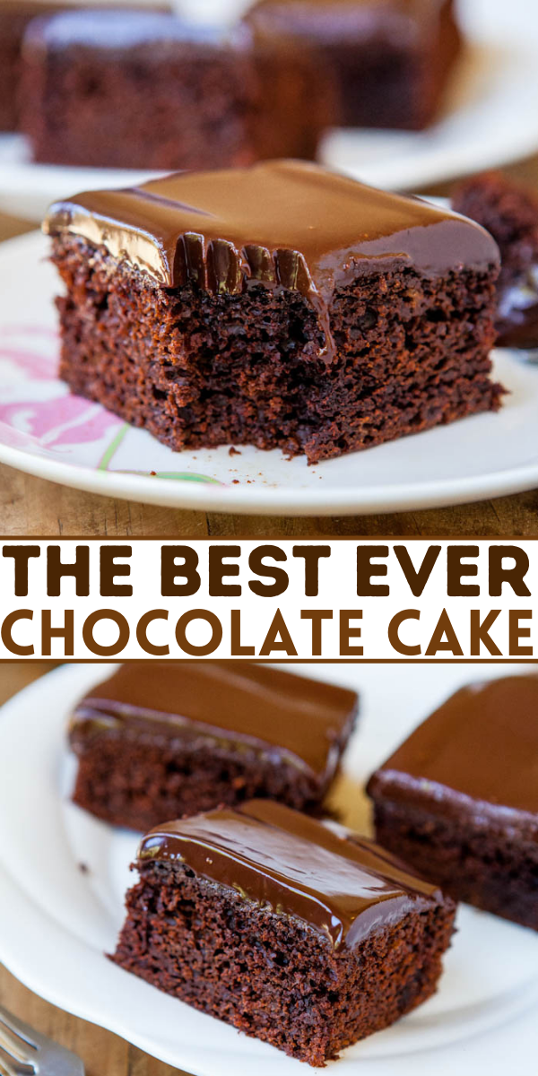 The Best Homemade Chocolate Cake with Ganache Frosting — This truly is the best homemade chocolate cake EVER. It's topped with a smooth chocolate ganache frosting, and it requires just 10 minutes of hands on prep!