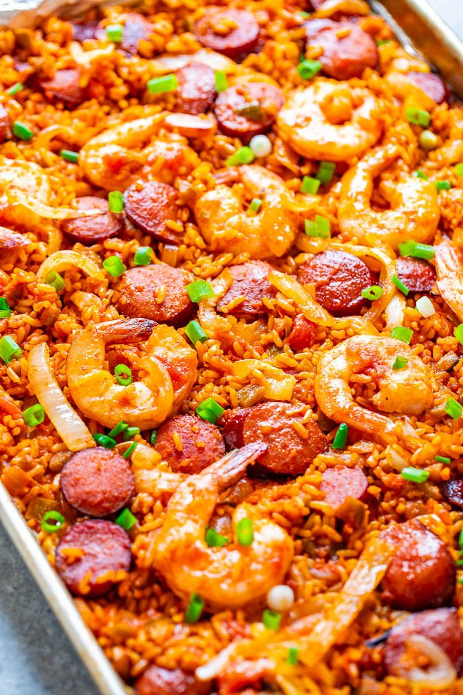 shrimp and sausage jambalaya on a sheet pan