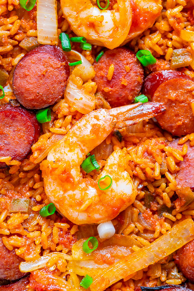 close up of sausage and shrimp jambalaya on a sheet pan