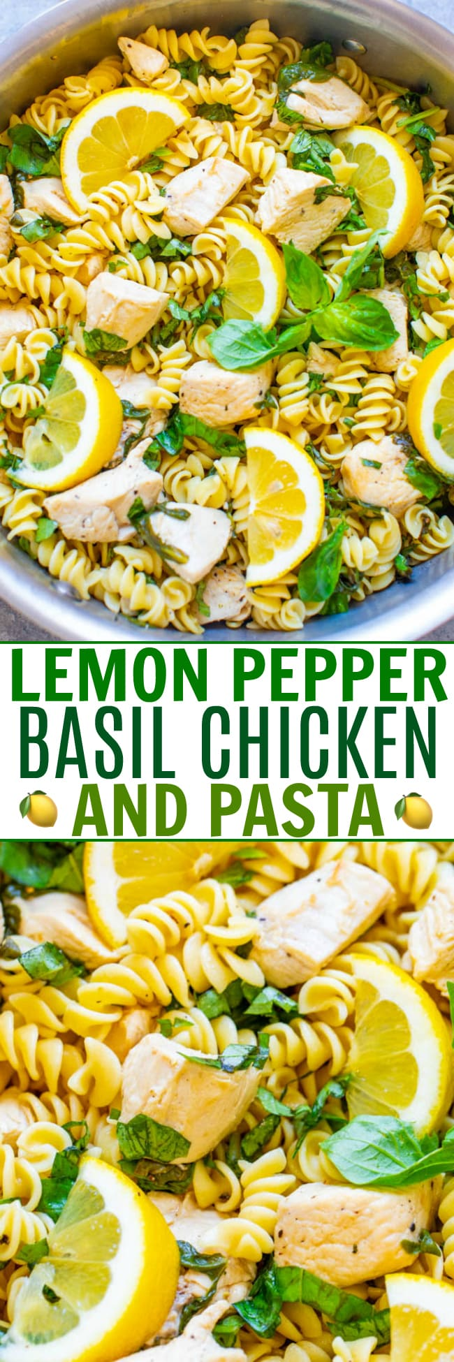 Lemon Pepper Chicken Pasta — EASY and ready in 15 minutes with comforting pasta, juicy chicken, and there is so much ZESTY flavor from the lemon, basil, and spinach!! A family favorite that's perfect for busy weeknights!!
