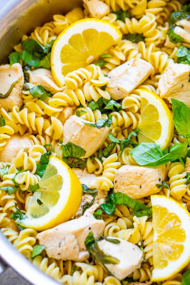 Lemon Pepper Basil Chicken and Pasta - EASY and ready in 15 minutes with comforting pasta, juicy chicken, and there is so much ZESTY flavor from the lemon, basil, and spinach!! A family favorite that's perfect for busy weeknights!!