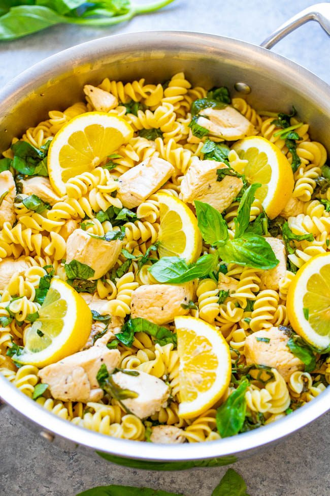 Lemon Pepper Basil Chicken and Pasta