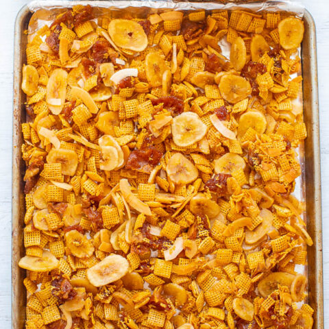 Piña Colada Chex Mix - An EASY and addictively AMAZING salty-sweet snack!! It's crunchy, chewy, and between the pineapple, coconut, banana, and lime you'll feel like you're on a tropical vacation!!