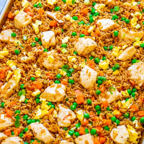"""15-Minute Sheet Pan Chicken Fried Rice – Easy HEALTHIER """"fried rice"""" that's actually baked and not fried!! Full of authentic flavor and ready faster than you can call for takeout!! Perfect for busy weeknights and a family FAVORITE!!"""