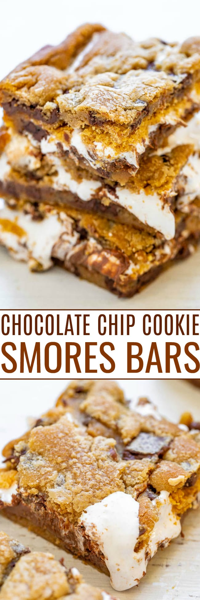 Chocolate Chip Cookie Smores Bars - Between layers of super soft chocolate chip cookie dough there's chocolate, marshmallows, and graham cracker crumbs for the most DECADENT smores ever!! So EASY and just 4 main ingredients!!