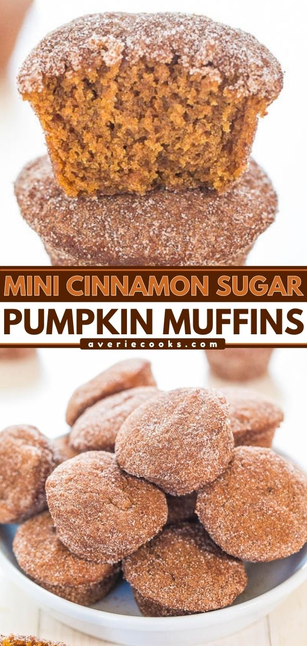 Cinnamon Sugar Mini Pumpkin Muffins— These mini pumpkin muffins are coated in cinnamon sugar and are bursting with fall flavor! Even better, they're accidentally vegan!