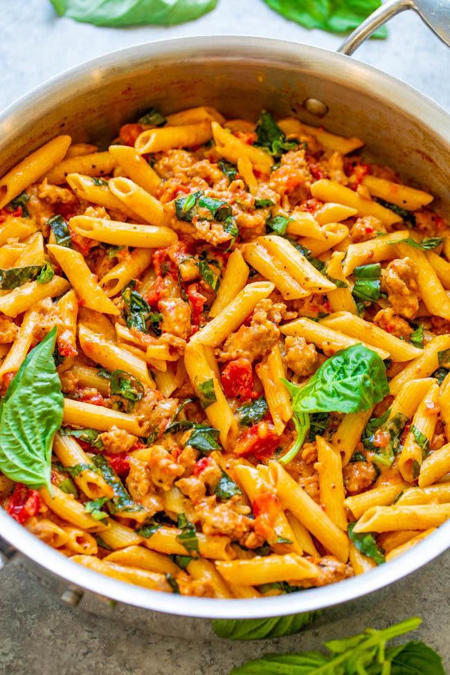 One-Pot Italian Sausage and Tomato Basil Pasta