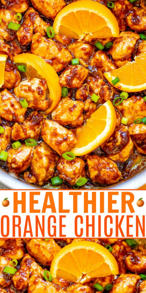 Healthier Orange Chicken — Stop calling for takeout or going to the mall food court and make this HEALTHIER orange chicken at home in less than 10 minutes!! EASY, authentic, and so INCREDIBLE that you'll never miss the fat and calories!!