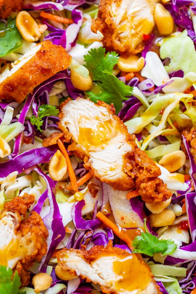 Crunchy Peanut Chicken Salad - Crispy fried chicken with crunchy cabbage, carrots, peanuts, cilantro and the EASIEST and BEST homemade peanut sauce that coats every bite!! A salad that you'll CRAVE over and over!!