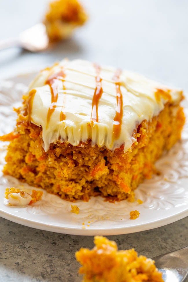 Salted Caramel Carrot Cake with Cream Cheese Frosting on a white plate