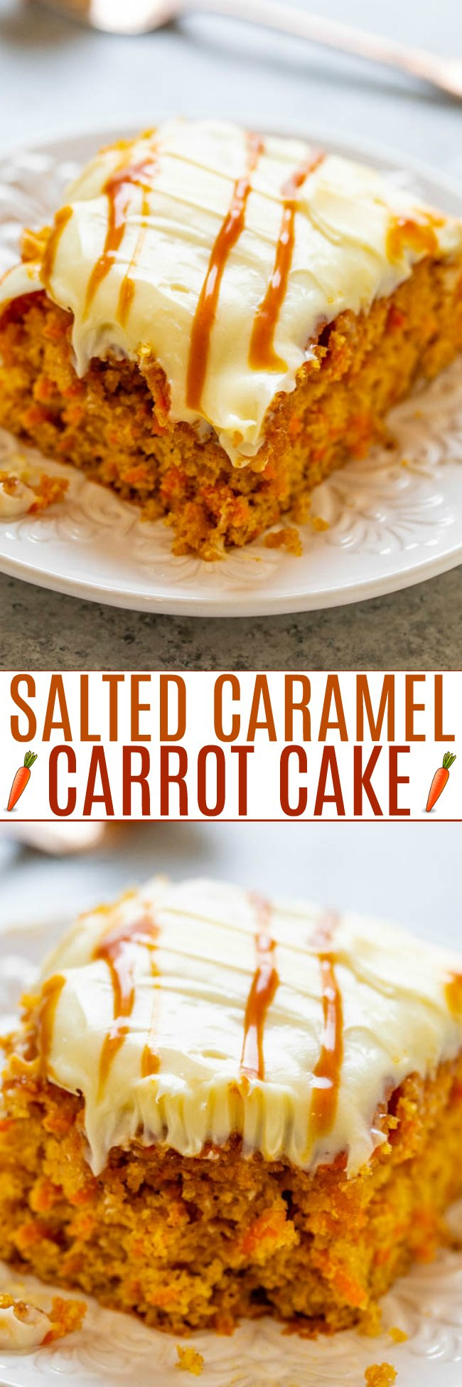 Easy Carrot Cake with Cake Mix (+ Caramel Sauce!) - Soft, tender carrot cake infused with salted caramel sauce and topped with tangy cream cheese frosting is the ULTIMATE in decadence!! Calling all carrot cake fans, you will LOVE this version!!