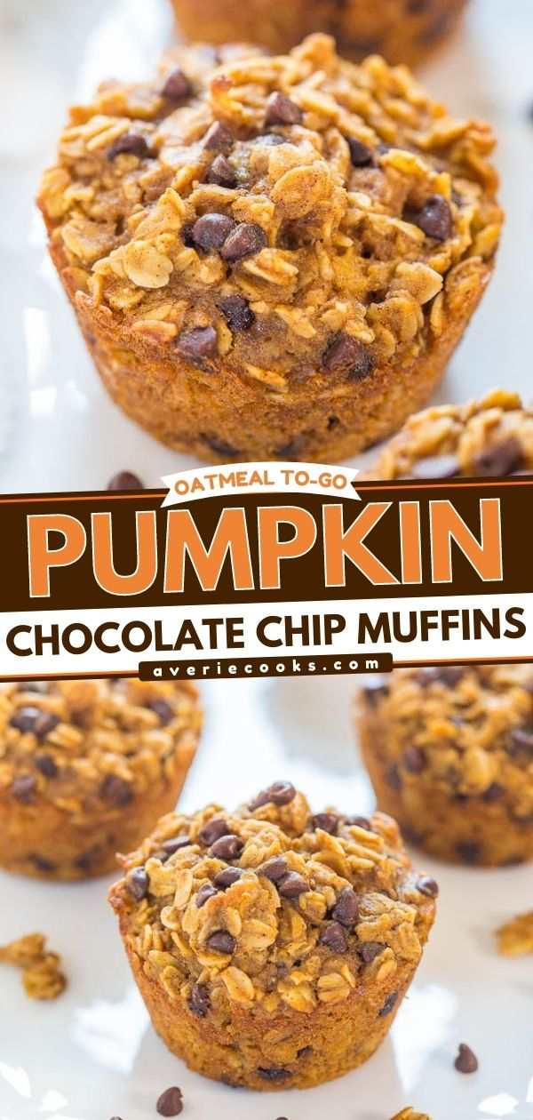 Oatmeal To-Go Pumpkin Chocolate Chip Muffins— These pumpkin chocolate chip muffins are essentially baked oatmeal bites with the perfect amount of pumpkin spice!! They're the perfect grab-and-go breakfast or snack!!