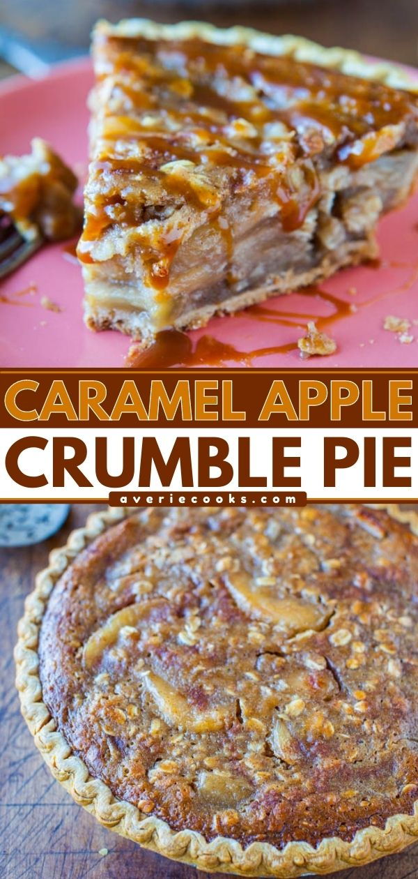 Caramel Apple Crumble Pie — Apple pie meets apple crumble in this easy caramel apple crumble pie recipe. This apple pie is dense, rich, and is packed with caramel apple flavor!