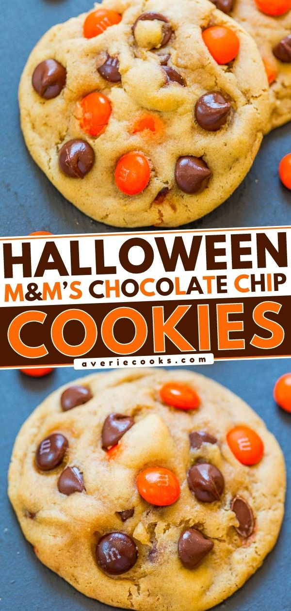 Chocolate Chip M&M's HalloweenCookies — Super soft, perfectly chewy, BROWNED BUTTER cookies that are LOADED with M&M's and chocolate chips!! An EASY one-bowl, no-mixer recipe that'll put everyone in the Halloween spirit!!