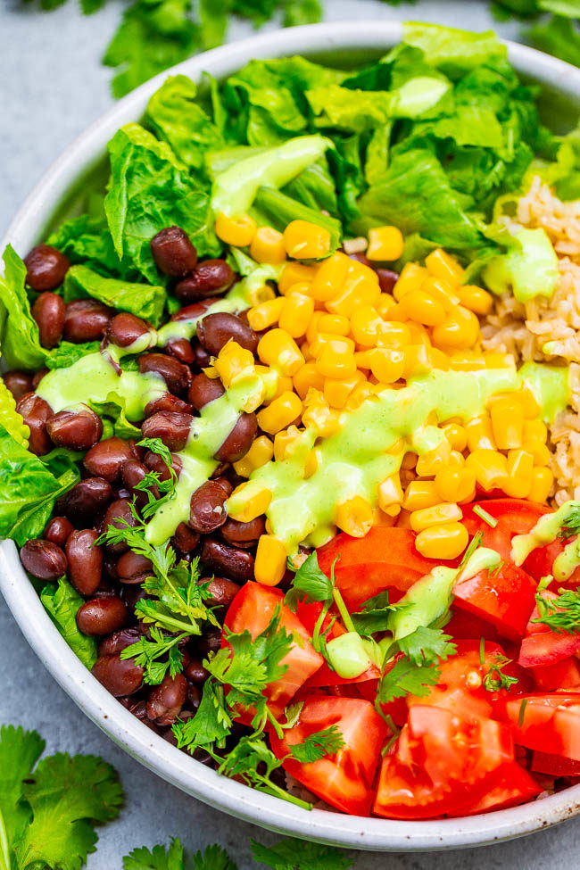 Overhead of Black Bean Burrito Bowl Salad